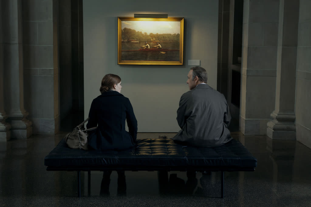 """Kate Mara and Kevin Spacey in the """"House of Cards"""" Season 1 episode, """"Chapter 1."""""""