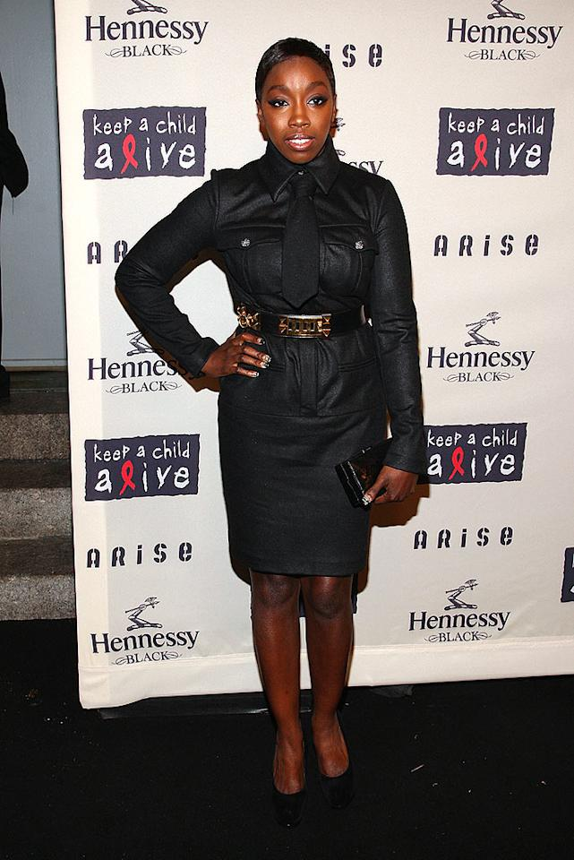 """""""American Boy"""" singer Estelle looked like the """"Boogie Woogie Bugle Boy"""" in her military-inspired dress. Theo Wargo/<a href=""""http://www.wireimage.com"""" target=""""new"""">WireImage.com</a> - October 15, 2009"""