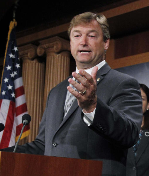 FILE - In this Sept. 8, 2011, file photo Sen. Dean Heller, R-Nev., speaks during a news conference, called to demand that the Joint Select Committee on Deficit Reduction open the entirety of its proceedings to the public, on Capitol Hill in Washington. Republicans' clear shot at winning control of the Senate is attracting tens of millions of dollars from GOP-allied outside groups eager to spend on a surer bet than the White House race. Control of the U.S. Senate will hinge on some tight races, including the Nevada race, seen by Democrats as one of their best chances of unseating one of the newest Republican senators, Heller. (AP Photo/Manuel Balce Ceneta, File)
