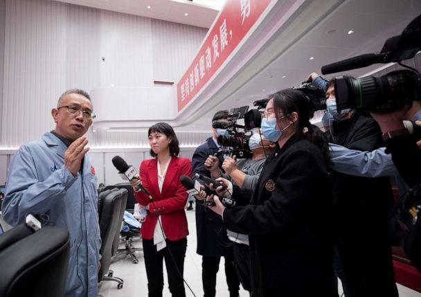 PHOTO: Zhang Rongqiao, chief designer of China's first Mars exploration mission, speaks in an interview at the Beijing Aerospace Control Center in Beijing, Feb. 10, 2021. (Xinhua/Jin Liwang via Newscom)