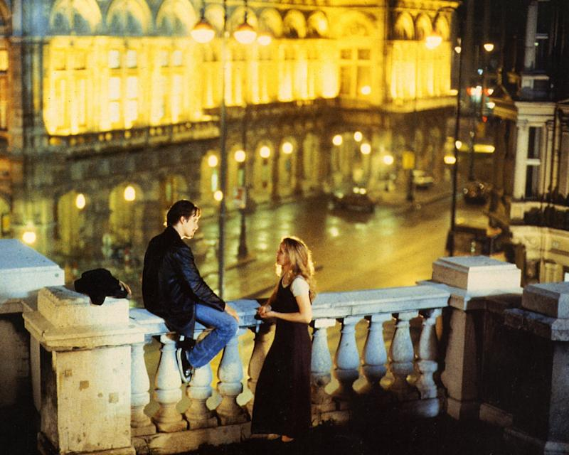 Ethan Hawke as Jesse and Julie Delpy as Céline in Before Sunrise, which is set in Vienna.
