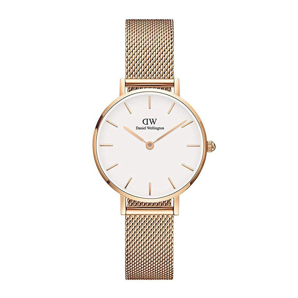"<p><strong>daniel wellington</strong></p><p>amazon.com</p><p><strong>$169.00</strong></p><p><a href=""http://www.amazon.com/dp/B076HCCR3Y/?tag=syn-yahoo-20&ascsubtag=%5Bartid%7C2089.g.154%5Bsrc%7Cyahoo-us"" rel=""nofollow noopener"" target=""_blank"" data-ylk=""slk:Shop Now"" class=""link rapid-noclick-resp"">Shop Now</a></p><p>Whether she's in school or working full-time, every gal needs a sleek timepiece to keep her life in order. This classic-style rose gold watch is a gift she'll use and love for years to come.</p>"