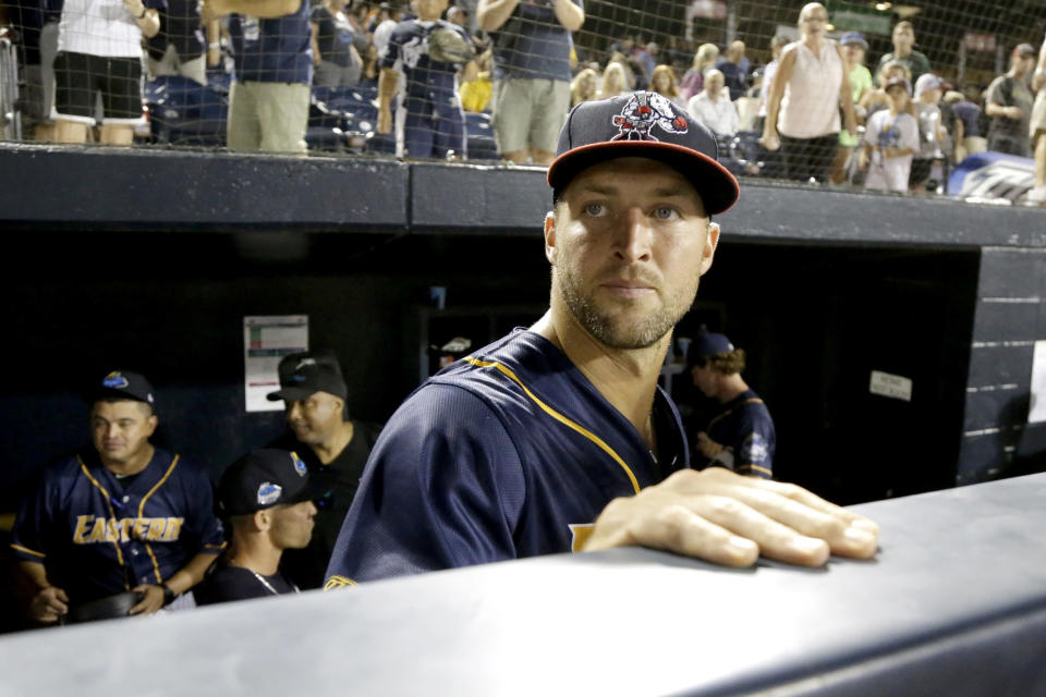 Tim Tebow's minor-league All-Star season has hit a snag with a mysterious hand injury requiring him to see a specialist on Monday. (AP)