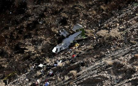 A view shows the site of a crashed plane owned by the private holding company of Turkish businessman Huseyin Basaran, Iran, March 12, 2018. REUTERS/Tasnim News Agency