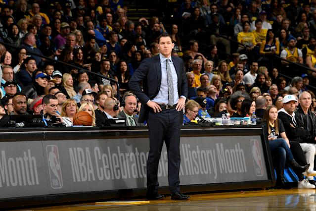 "Many veteran <a class=""link rapid-noclick-resp"" href=""/nba/teams/la-lakers/"" data-ylk=""slk:Lakers"">Lakers</a> players were involved in an ""emotionally charged"" verbal confrontation with Luke Walton on Saturday night. (Noah Graham/Getty Images)"