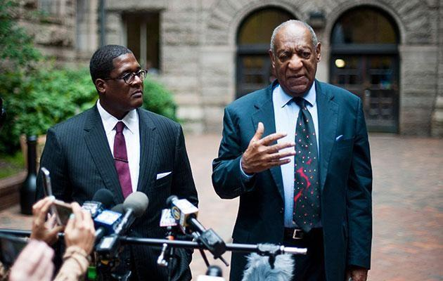 Bill Cosby pictured with his rep Andrew Wyatt outside court this month. Source: Getty