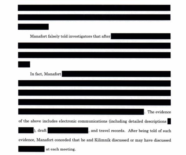 Portions about Manafort's interactions with Kilimnik are heavily redacted. (Photo: Special counsel's office)