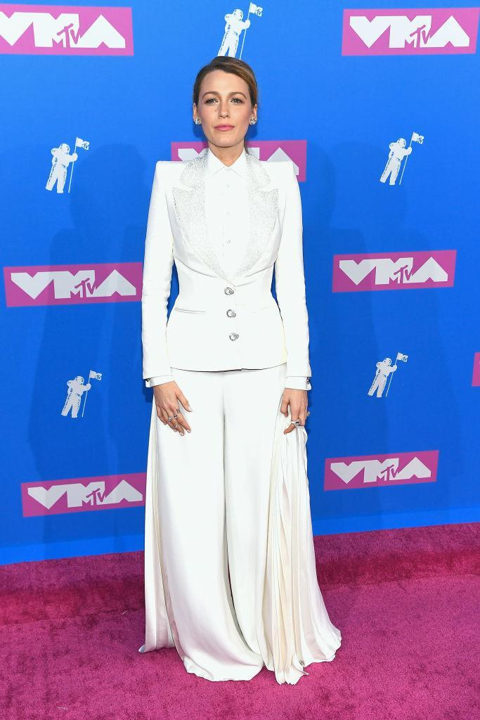 <p>The actress wore her seventh suit of the week for the star-studded VMAs but the smart wide-legged ensemble eft social media users torn. Were you a fan of the Ralph and Russo tux? <em>[Photo: Getty]</em> </p>
