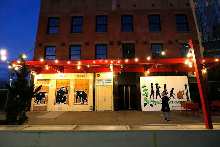 The Brass Monkey in the Meat Market district is closed on December 26, 2020 in New York City.