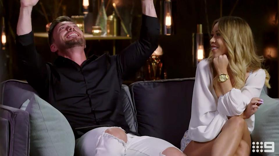 Alana Lister  and Jason Engler on the MAFS couch
