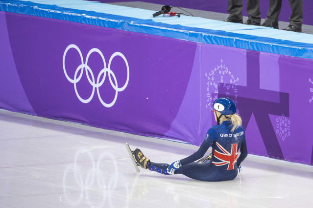 Elise Christie after crashing out of the final (Andy J Ryan/Team GB)