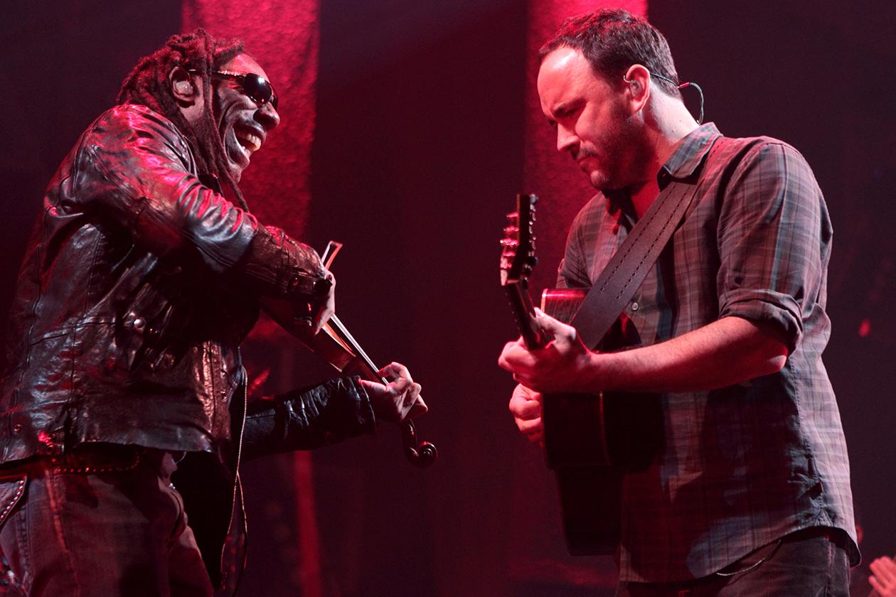 <b>6. Dave Matthews Band - $18,903,334.14</b><br><br>Boyd Tinsley and Dave Matthews perform onstage with the Dave Matthews Band during the Away From The World Tour at the 1st Mariner Arena in Baltimore.