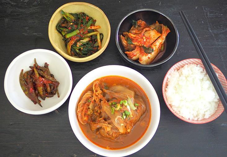 Rainy days call for this deep flavoured pork bone with kimchi stew with rice and various 'banchan' from Kitchen Goheung. – Pictures by Lee Khang Yi