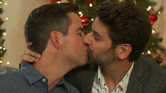 """Brian Sills (left) and Mark Ghanimé in the 2019 Lifetime holiday movie """"Twinkle All the Way."""" (Photo: Lifetime )"""