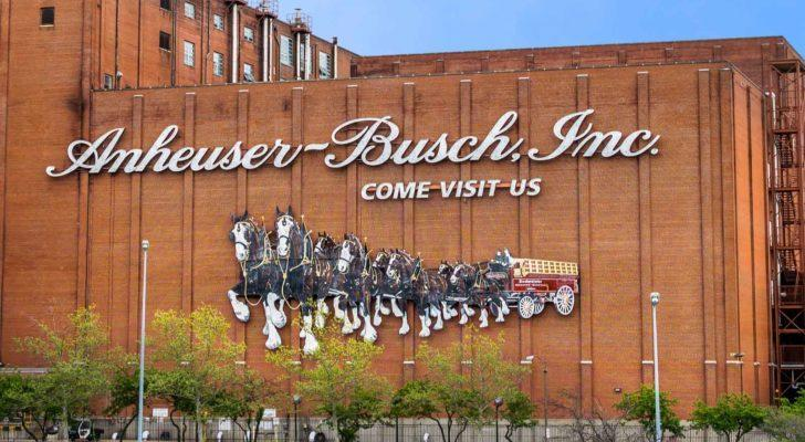 Corporate building with Anheuser Busch (BUD) logo on it
