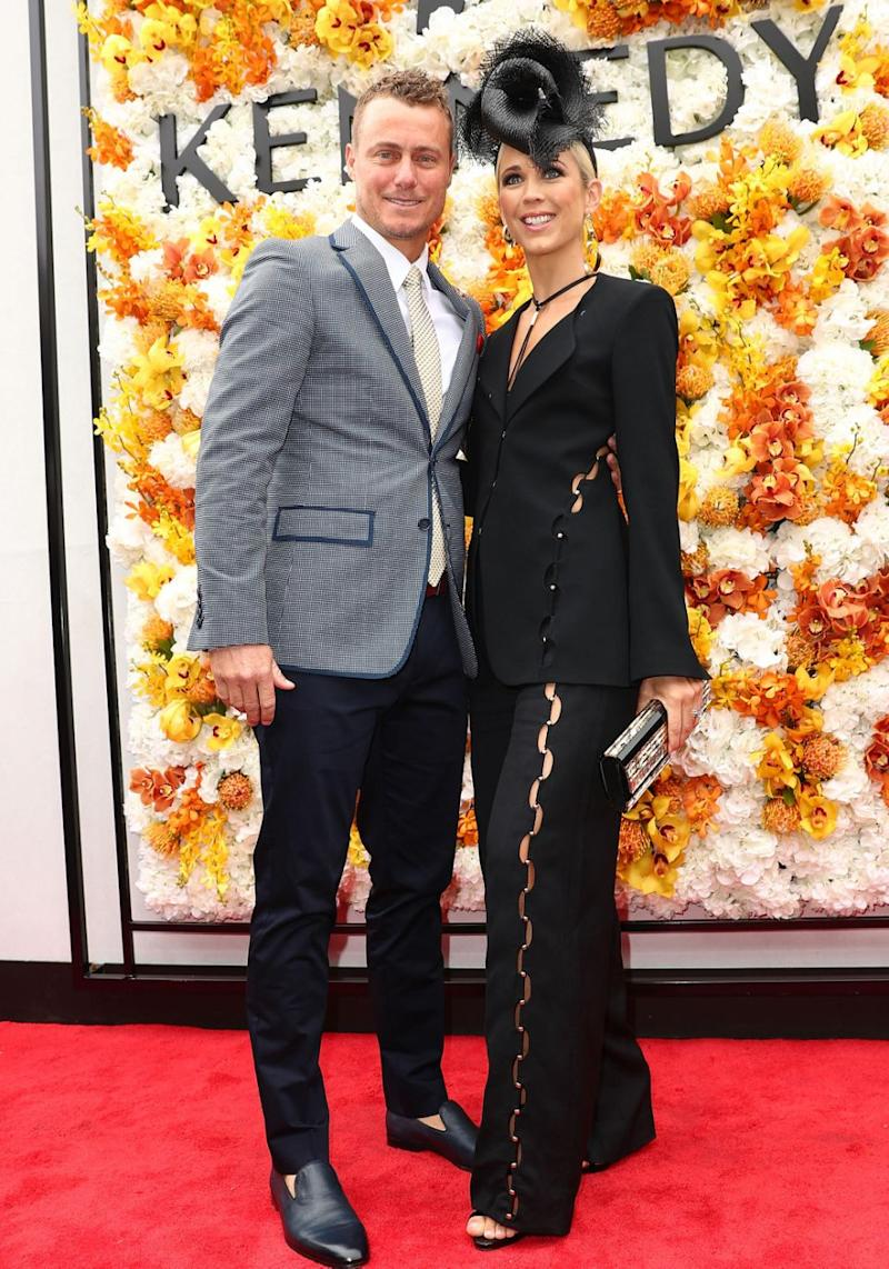 Bec and tennis star husband Lleyton Hewitt looked happy to be attending the Melbourne Cup together. Source: Getty