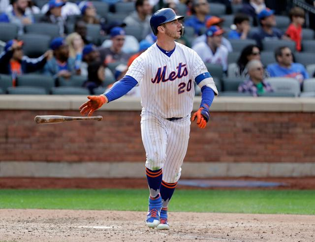 "Pete Alonso and his power has grabbed the attention of <a class=""link rapid-noclick-resp"" href=""/mlb/teams/ny-yankees/"" data-ylk=""slk:Yankees"">Yankees</a> slugger <a class=""link rapid-noclick-resp"" href=""/mlb/players/9877/"" data-ylk=""slk:Aaron Judge"">Aaron Judge</a>. (AP Photo)"