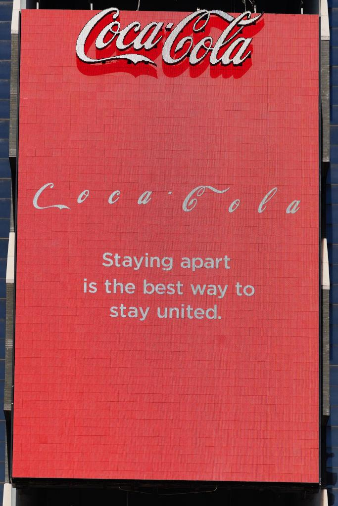 A view of a Coca-Cola digital billboard in Times Square promoting social distancing amid the coronavirus outbreak.