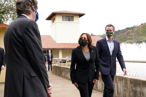 Vice President Kamala Harris, with California Gov. Gavin Newsom, visits a water treatment plant in Oakland on April 5, 2021.