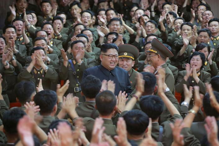 North Korean leader Kim Jong Un inspects the Command of the Strategic Force of the Korean People's Army in North Korea in this undated photo released on Aug. 15, 2017.