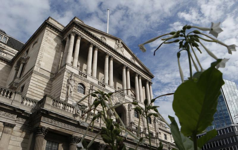 Flowers bloom outside the Bank of England in the City of London