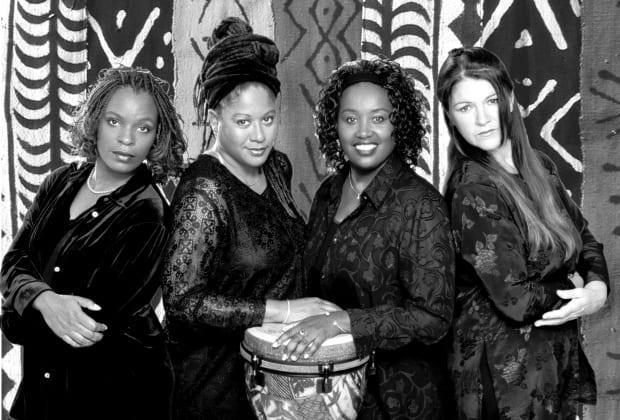 From left to right, Anne Marie Woods, Delvina Bernard, Kim Bernard, Andrea Currie were the a cappella group Four the Moment. The group officially ended its musical career in 2001 but has made numerous appearances since, most recently appearing with civil rights activist and former Black Panther member Angela Davis in 2018.