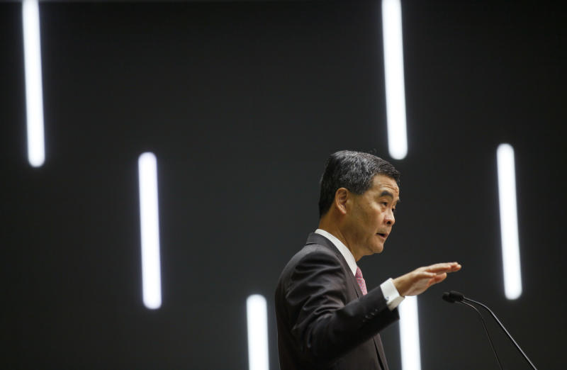Hong Kong's Chief Executive Leung Chun-ying speaks at a news conference after delivering his policy address in Hong Kong Wednesday, Jan. 16, 2013. Hong Kong's unpopular Beijing-backed leader said he is making the city's housing crisis a priority in a bid to soothe widespread discontent. (AP Photo/Kin Cheung)