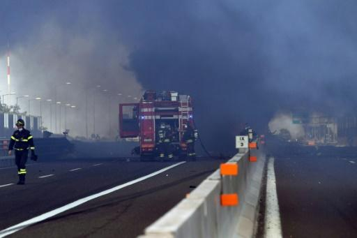 The driver of the tanker truck was killed in the fiery crash; the drivers of the other two lorries involved were injured