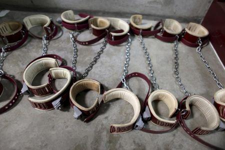 In this January 21, 2009 file photo, reviewed by the U.S. Military, leg shackles are seen on the floor at Camp 6 detention center, at the U.S. Naval Base, in Guantanamo Bay, Cuba.   REUTERS/Brennan Linsley/Pool/Files