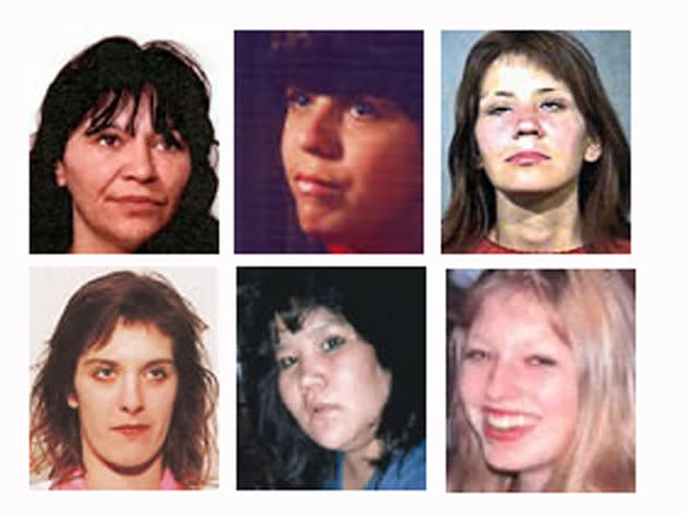 "Six of the women accused Canadian serial killer Robert ""Willie"" Pickton was charged with murdering are shown in these undated photos. (Top row L-R) Georgina Papin, Sereena Abotsway, Mona Wilson, (bottom row L-R) Marnie Frey, Brenda Wolfe and Andrea Josebury."