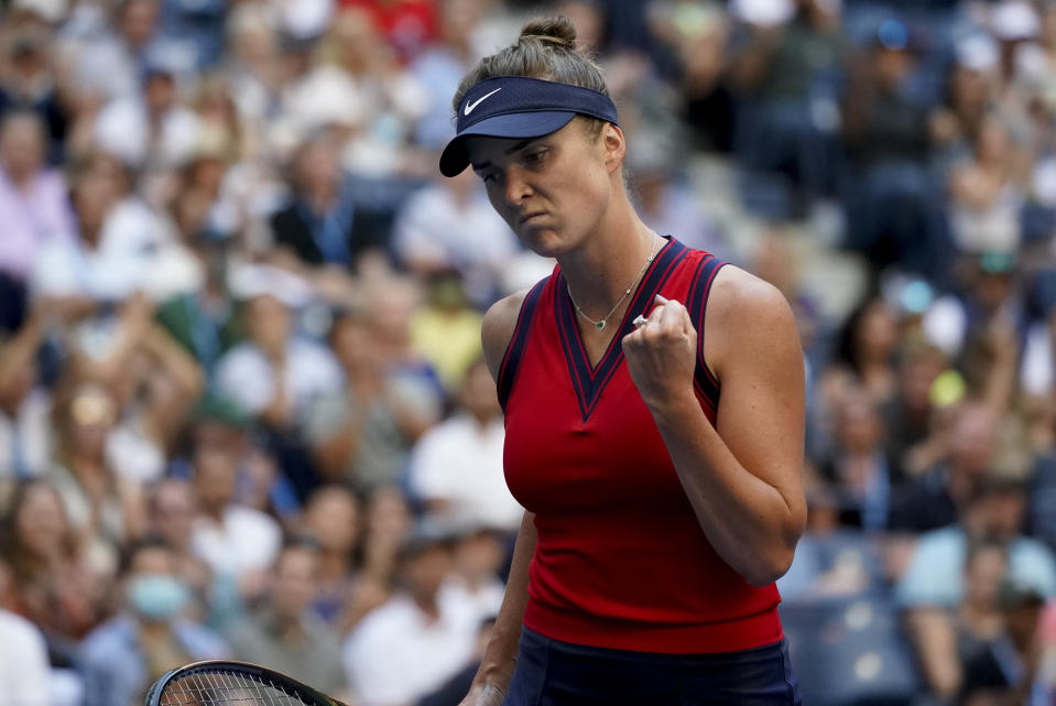 Elina Svitolina, of Ukraine, reacts after scoring a point against Leylah Fernandez, of Canada, during the quarterfinals of the US Open tennis championships, Tuesday, Sept. 7, 2021, in New York. (AP Photo/Elise Amendola)