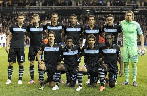 Members of SS Lazio pose for photo before the Europa League Group J football match