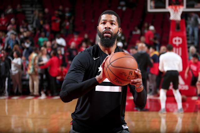 "<a class=""link rapid-noclick-resp"" href=""/nba/players/4894/"" data-ylk=""slk:Markieff Morris"">Markieff Morris</a> was set to appear in a commercial for a Northern Virginia pizza chain shortly after he was traded from the <a class=""link rapid-noclick-resp"" href=""/nba/teams/washington/"" data-ylk=""slk:Washington Wizards"">Washington Wizards</a>. (Photo by Ned Dishman/NBAE via Getty Images)"