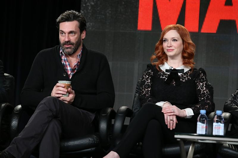 Actor Jon Hamm and actress Christina Hendricks speak onstage during the 'Mad Men' panel at the AMC portion of the 2015 Winter Television Critics Association press tour at the Langham Hotel on January 10, 2015 in Pasadena, California (AFP Photo/Frederick M. Brown)