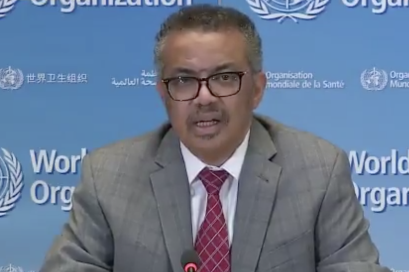 Dr Tedros Adhanom Ghebreyesus on Monday. (Sky News)