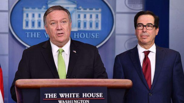PHOTO: Secretary of State Mike Pompeo and Treasury Secretary Steven Mnuchin announce new sanctions on Iran, at the White House in Washington, D.C., Jan. 10, 2020. (Nicholas Kamm/AFP via Getty Images)