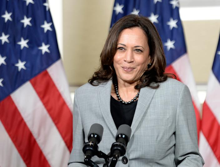 Democratic vice presidential nominee, Sen. Kamala Harris (D-CA) delivers remarks at Shaw University on in Raleigh, North Carolina on Monday.