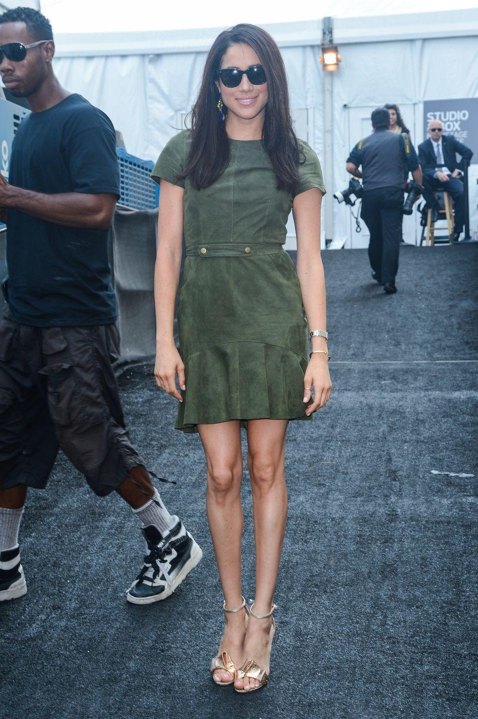 <p>Meghan Markle leaves the Mercedes-Benz Fashion Week at Lincoln Centre, September 2013</p>