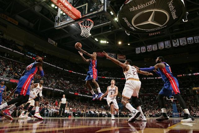 CLEVELAND, OH - DECEMBER 23: Brandon Jennings #7 of the Detroit Pistons goes to the basket against the Cleveland Cavaliers at The Quicken Loans Arena on December 23, 2013 in Cleveland, Ohio. (Photo by David Liam Kyle/NBAE via Getty Images)
