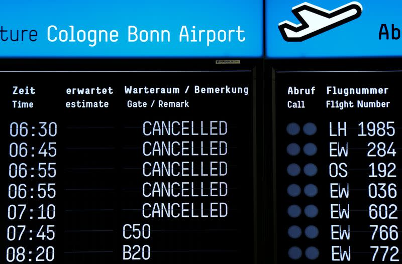 Timetable shows cancelled flights during a strike of cabin crew employees of German airline Germanwings in Cologne
