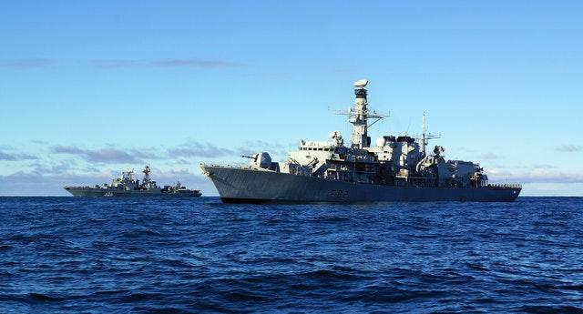 HMS Somerset (foreground) shadowing a Russian naval task group(ET Ryan Curtis/MoD/Crowm Copywright/AP)