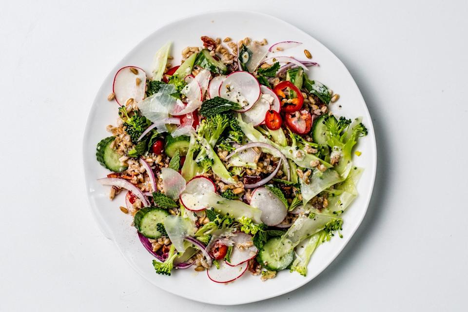 """Our new favorite grain salad is packed with oil-packed anchovies, crunchy raw veggies, salty Pecorino, lively mint, and fresh chile peppers. <a href=""""https://www.epicurious.com/recipes/food/views/cracked-farro-and-broccoli-salad?mbid=synd_yahoo_rss"""" rel=""""nofollow noopener"""" target=""""_blank"""" data-ylk=""""slk:See recipe."""" class=""""link rapid-noclick-resp"""">See recipe.</a>"""