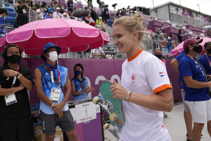 Roos Zwetsloot of the Netherlands walks from the course after a run in the women's street skateboarding finals at the 2020 Summer Olympics, Monday, July 26, 2021, in Tokyo, Japan. (AP Photo/Ben Curtis)