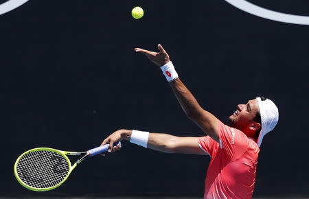 FILE PHOTO - Tennis - Australian Open - First Round - Court 3, Melbourne, Australia, January 14, 2019. Italy's Matteo Berrettini serves during the match against Greece's Stefanos Tsitsipas. REUTERS/Adnan Abidi
