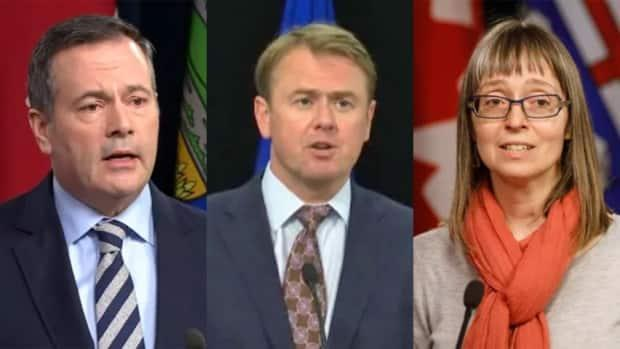 Alberta Premier Jason Kenney, Health Minister Tyler Shandro and Dr. Deena Hinshaw, Alberta's chief medical officer of health, spoke Thursday about COVID-19 in the province. (Sam Martin/CBC, Art Raham/CBC, Jason Franson/The Canadian Press - image credit)