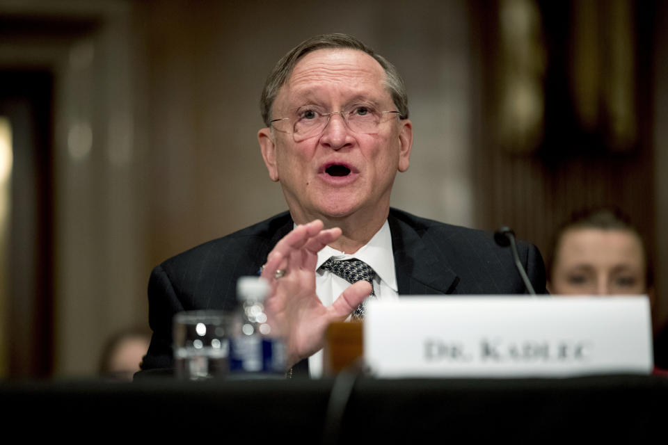 """FILE - In this March 3, 2020 file photo, Health and Human Services Assistant Secretary for Preparedness and Response Dr. Robert Kadlec testifies before a Senate Education, Labor and Pensions Committee hearing on the coronavirus on Capitol Hill in Washington. Kadlec said in an email Friday, Oct. 9, that the Trump administration """"is accelerating production of safe and effective vaccines ... to ensure delivery starting January 2021."""" (AP Photo/Andrew Harnik)"""