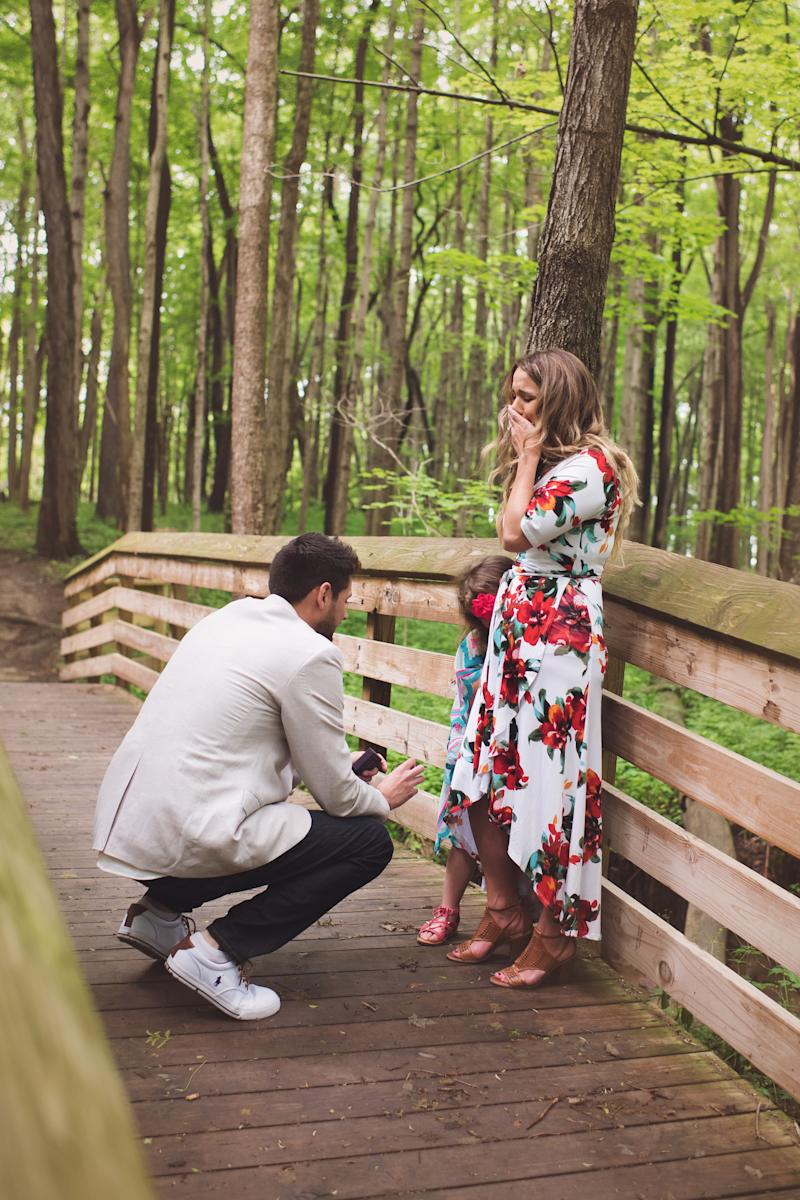 """Cassandra immediately started sobbing when Grant """"proposed"""" to her daughter. (Mandi Gilliland Photography)"""