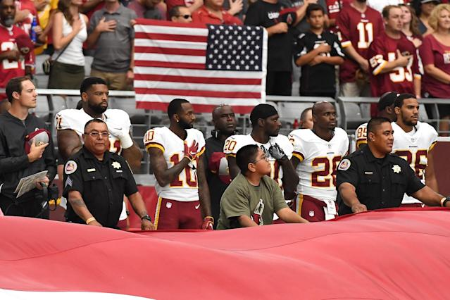 <p>Wide receiver Paul Richardson #10 of the Washington Redskins stands for the National Anthem before the game against the Arizona Cardinals at State Farm Stadium on September 9, 2018 in Glendale, Arizona. (Photo by Norm Hall/Getty Images) </p>