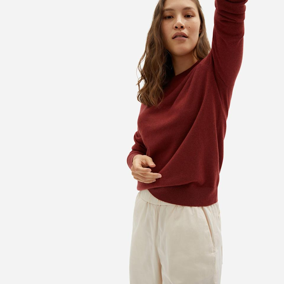 """<br><br><strong>Everlane</strong> The Cashmere Crew - Carmine, $, available at <a href=""""https://go.skimresources.com/?id=30283X879131&url=https%3A%2F%2Fwww.everlane.com%2Fproducts%2Fwomens-cashmere-crew-carmine"""" rel=""""nofollow noopener"""" target=""""_blank"""" data-ylk=""""slk:Everlane"""" class=""""link rapid-noclick-resp"""">Everlane</a>"""