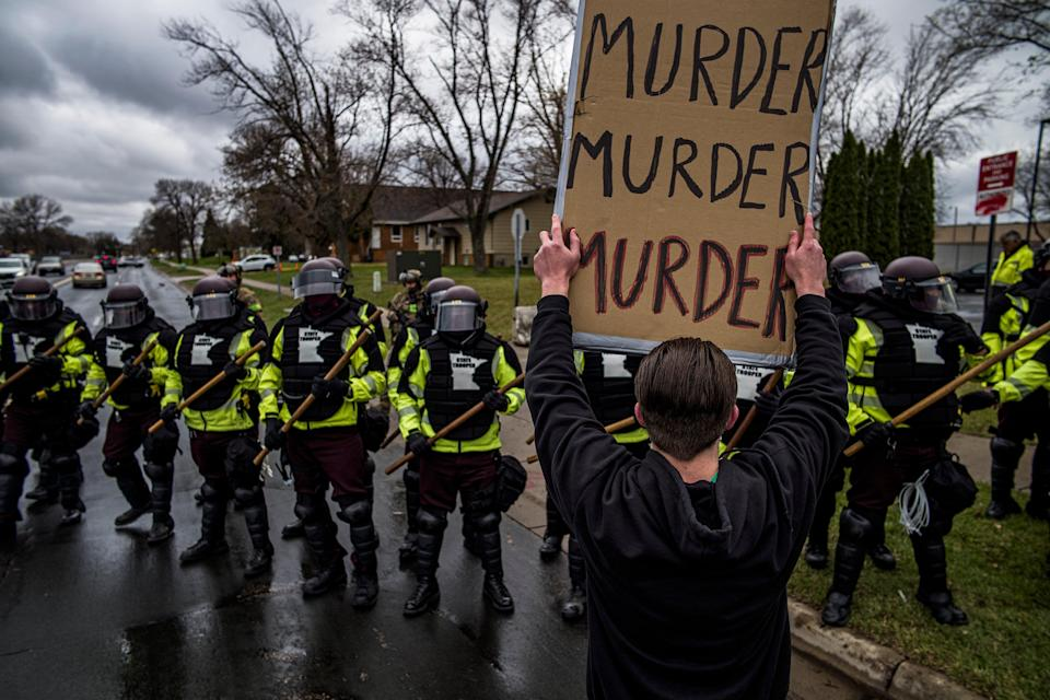 <p>Police in Minnesota have been accused of physically attacking reporters as they cover the Daunte Wright protests</p> (AP)